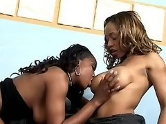 black lesbian connects and torments cutie