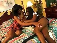 Sweet black girls caress yummy pussies